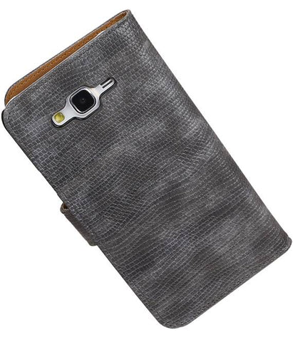 Samsung galaxy j7 2015 Grijs | Lizard bookstyle / book case/ wallet case Hoes  | WN™ - hoesjeshoek