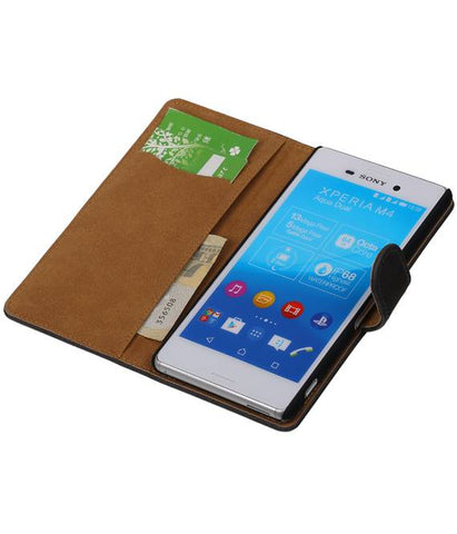 sony Xperia M4 Aqua Grijs | Bark bookstyle / book case/ wallet case Hoes  | WN™ - hoesjeshoek