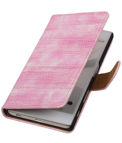 sony Xperia Z5 Roze | Lizard bookstyle / book case/ wallet case Hoes  | WN™ - hoesjeshoek