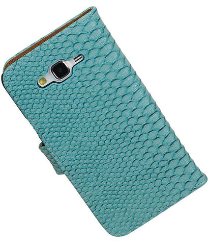 Samsung galaxy j7 2015 Turquoise | Snake bookstyle / book case/ wallet case Hoes  | WN™ - hoesjeshoek