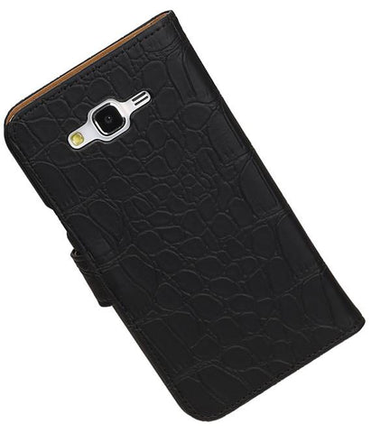 Samsung galaxy j7 2015 Zwart | Croco bookstyle / book case/ wallet case Hoes  | WN™ - hoesjeshoek