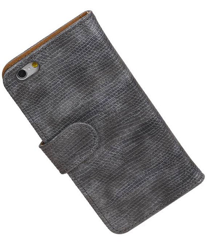 iPhone 6 Grijs | Lizard bookstyle / book case/ wallet case Hoes  | WN™ - hoesjeshoek