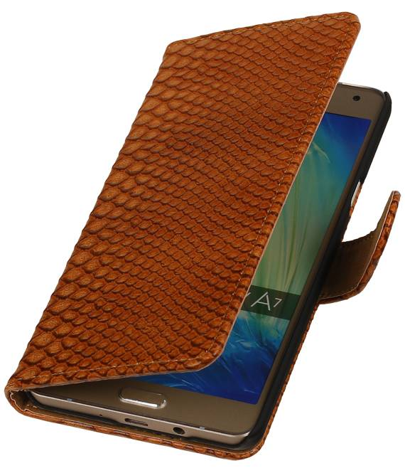 sony Xperia E4 Bruin | Snake bookstyle / book case/ wallet case Hoes  | WN™ - hoesjeshoek