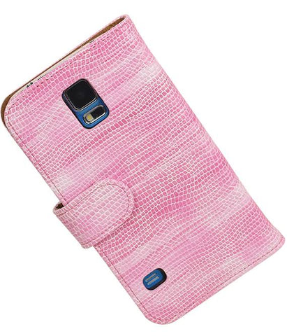 Samsung Galaxy S5 G900F Roze | Lizard bookstyle / book case/ wallet case Hoes  | WN™ - hoesjeshoek