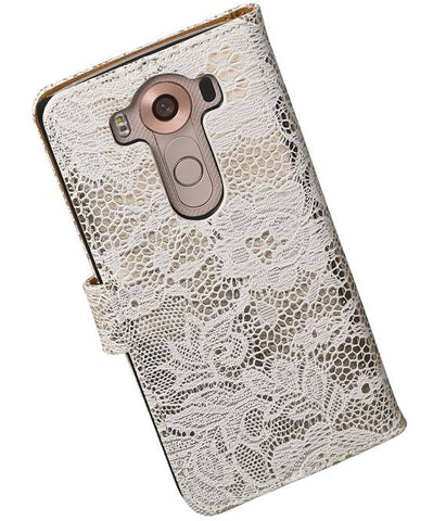 LG V10 Wit | Lace bookstyle / book case/ wallet case Hoes  | WN™ - hoesjeshoek