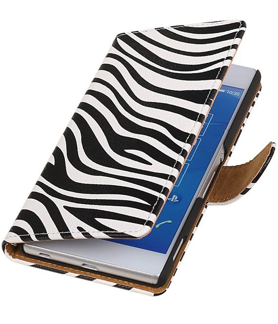 sony Xperia Z4 Z3+ Wit | Zebra bookstyle / book case/ wallet case Hoes  | WN™ - hoesjeshoek