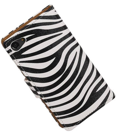 sony Xperia Z5 Compact Wit | Zebra bookstyle / book case/ wallet case Hoes  | WN™ - hoesjeshoek