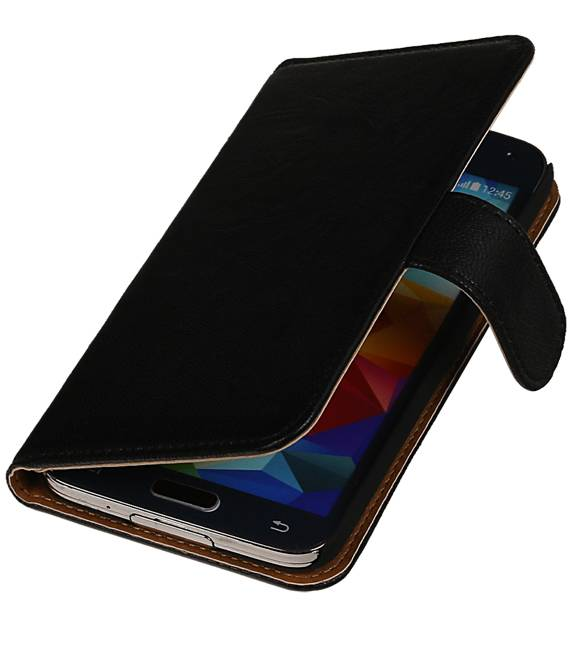 Samsung Galaxy Note 2 N7100 Zwart | Echt leder bookstyle / book case/ wallet case Hoes  | WN™ - hoesjeshoek