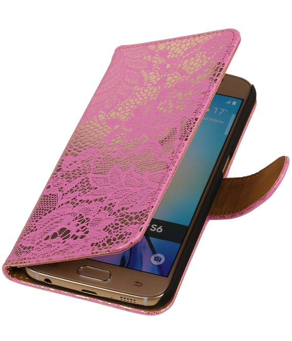 Samsung galaxy j2 2015 J200F Roze | Lace bookstyle / book case/ wallet case Hoes  | WN™ - hoesjeshoek