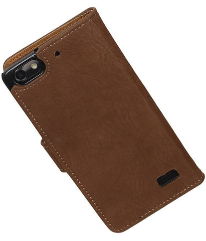 Huawei Honor 4C Bruin | Bark bookstyle / book case/ wallet case Hoes  | WN™ - hoesjeshoek