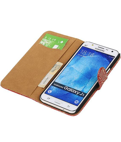 Samsung galaxy j5 2015 Rood | Lace bookstyle / book case/ wallet case Hoes  | WN™ - hoesjeshoek
