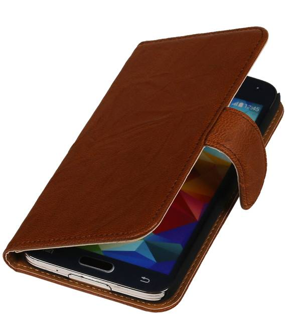 Samsung Galaxy Ace Plus S7500 Bruin | Echt leder bookstyle / book case/ wallet case Hoes  | WN™ - hoesjeshoek