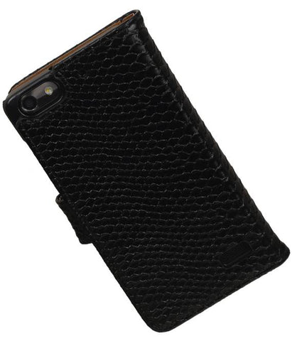 Huawei Honor 4C Zwart | Snake bookstyle / book case/ wallet case Hoes  | WN™ - hoesjeshoek