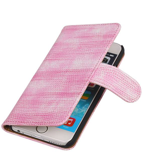 iPhone SE / 5 / 5s Roze | Lizard bookstyle / book case/ wallet case Hoes  | WN™ - hoesjeshoek