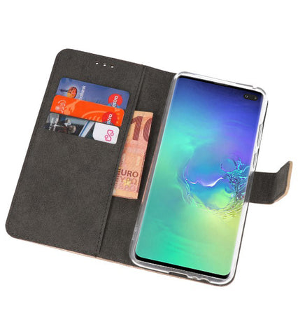 Samsung Samsung Galaxy S10 Plus Goud | Wallet Case Hoesje  | WN™ - hoesjeshoek