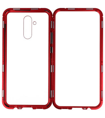 Mate 20 Lite Rood - Transparant | Magnetic Back Cover  | WN™ - hoesjeshoek