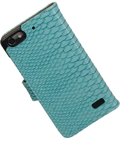 Huawei Honor 4C Turquoise | Snake bookstyle / book case/ wallet case Hoes  | WN™ - hoesjeshoek