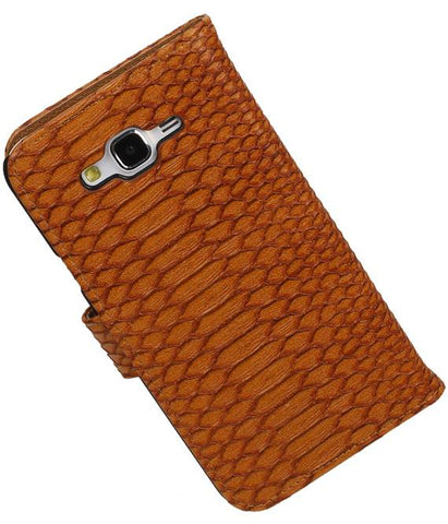 Samsung galaxy j5 2015 Bruin | Snake bookstyle / book case/ wallet case Hoes  | WN™ - hoesjeshoek