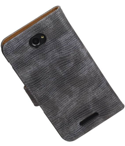 sony Xperia E4 Grijs | Lizard bookstyle / book case/ wallet case Hoes  | WN™ - hoesjeshoek