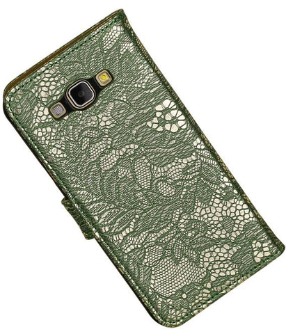 Samsung galaxy a8 2015 Donkder Groen | Lace bookstyle / book case/ wallet case Hoes  | WN™ - hoesjeshoek