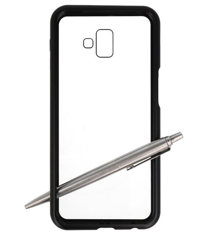 Samsung Galaxy J6 Plus Zwart - Transparant | Magnetic Back Cover  | WN™ - hoesjeshoek
