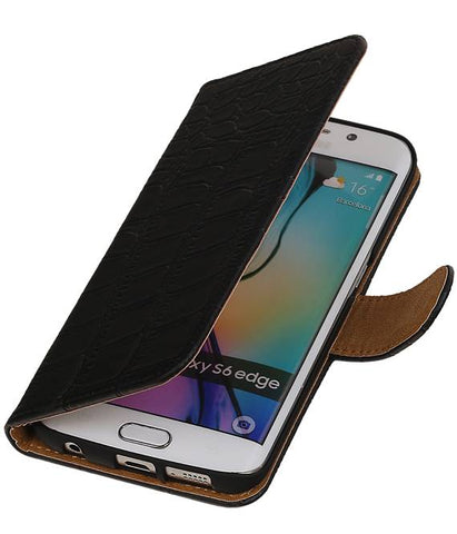 Samsung Galaxy S6 Edge G925 Zwart | Croco bookstyle / book case/ wallet case Hoes  | WN™ - hoesjeshoek