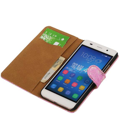 Huawei Honor 4 A / Y6 Roze | Lace bookstyle / book case/ wallet case Hoes  | WN™ - hoesjeshoek
