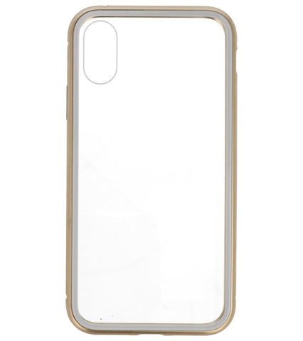 iPhone XS Goud - Transparant | Magnetic Back Cover  | WN™ - hoesjeshoek