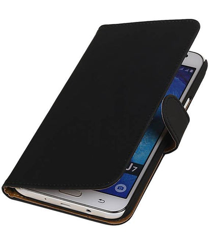 Samsung galaxy j7 2015 Zwart | bookstyle / book case/ wallet case Hoes  | WN™ - hoesjeshoek