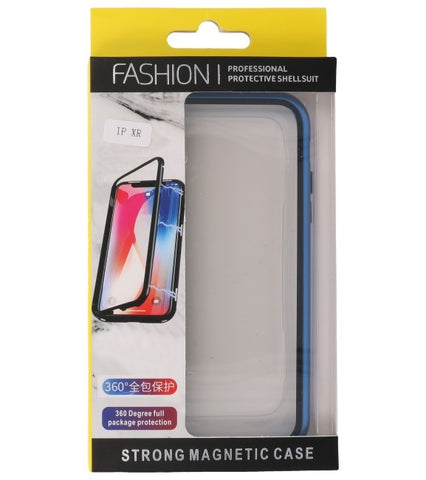 iPhone XR Blauw - Transparant | Magnetic Back Cover  | WN™ - hoesjeshoek