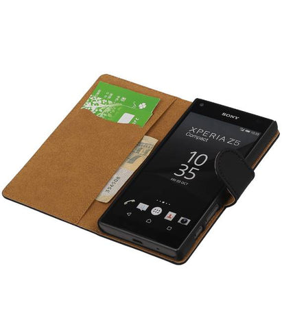 sony Xperia Z5 Compact Zwart | bookstyle / book case/ wallet case Hoes  | WN™ - hoesjeshoek