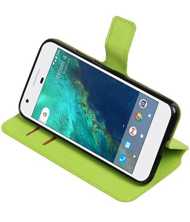 Google Pixel Groen | Cross Pattern TPU bookstyle / book case/ wallet case  | WN™ - hoesjeshoek