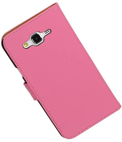 Samsung galaxy j5 2015 Roze | bookstyle / book case/ wallet case Hoes  | WN™ - hoesjeshoek