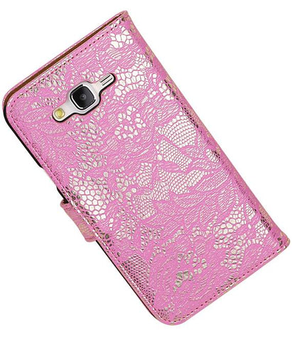 Samsung galaxy j5 2015 Roze | Lace bookstyle / book case/ wallet case Hoes  | WN™ - hoesjeshoek