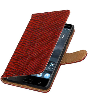 Nokia 5 Rood | Snake bookstyle / book case/ wallet case Hoes  | WN™ - hoesjeshoek