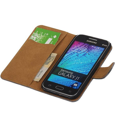 Samsung galaxy j1 2015 J100F Grijs | Lizard bookstyle / book case/ wallet case Hoes  | WN™ - hoesjeshoek
