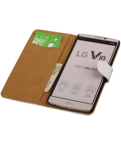 LG V10 Wit | Croco bookstyle / book case/ wallet case Hoes  | WN™ - hoesjeshoek
