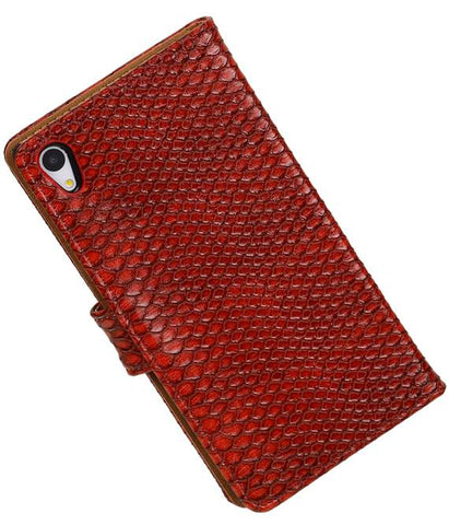 sony Xperia Z4 Z3+ Rood | Snake bookstyle / book case/ wallet case Hoes  | WN™ - hoesjeshoek
