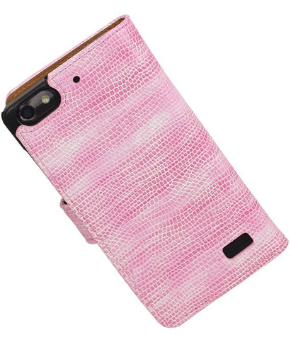 Huawei Honor 4C Roze | Lizard bookstyle / book case/ wallet case Hoes  | WN™ - hoesjeshoek