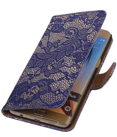 Samsung Galaxy S6 Edge Plus G928T Blauw | Lace bookstyle / book case/ wallet case Hoes  | WN™ - hoesjeshoek