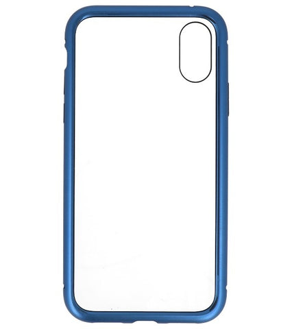 iPhone XS Blauw - Transparant | Magnetic Back Cover  | WN™ - hoesjeshoek