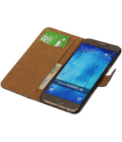 Samsung galaxy a8 2015 Zwart | Lace bookstyle / book case/ wallet case Hoes  | WN™ - hoesjeshoek
