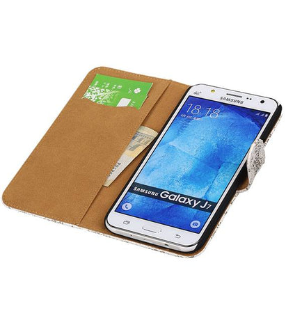 Samsung galaxy j7 2015 Wit | Lace bookstyle / book case/ wallet case Hoes  | WN™ - hoesjeshoek
