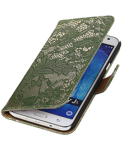 Samsung galaxy j5 2015 Donker Groen | Lace bookstyle / book case/ wallet case Hoes  | WN™ - hoesjeshoek