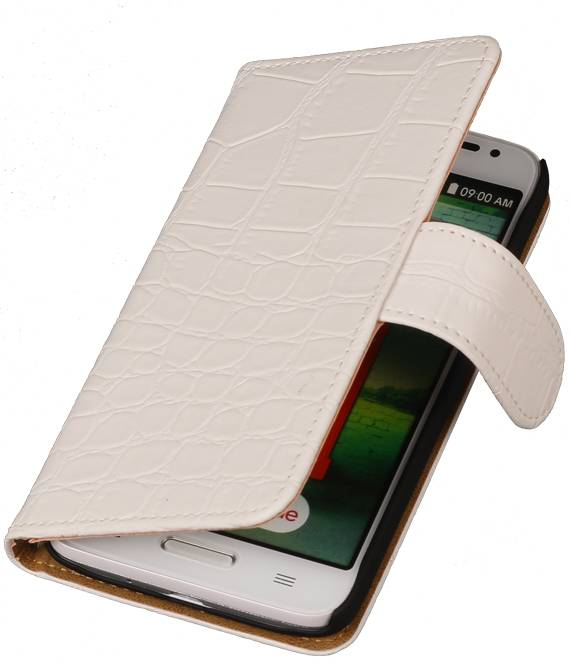 Huawei Huawei Ascend Y330 Wit | Croco bookstyle / book case/ wallet case Hoes  | WN™ - hoesjeshoek