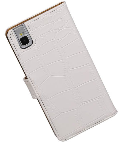 Huawei Honor 7i Wit | Croco bookstyle / book case/ wallet case Hoes  | WN™ - hoesjeshoek