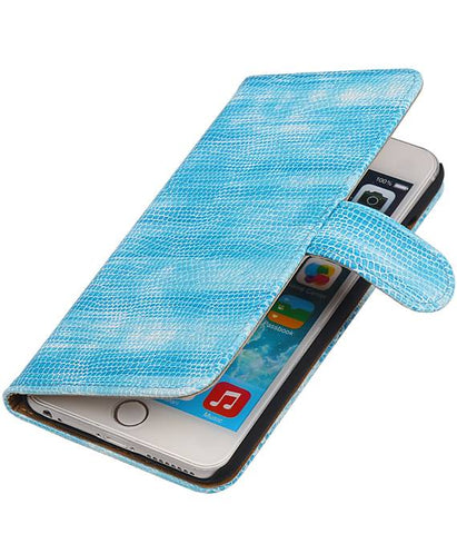 iPhone 6 Plus Turquoise | Lizard bookstyle / book case/ wallet case Hoes  | WN™ - hoesjeshoek
