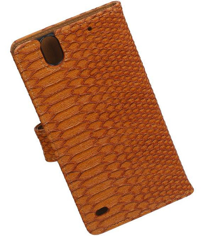 sony Xperia C4 Bruin | Snake bookstyle / book case/ wallet case Hoes  | WN™ - hoesjeshoek