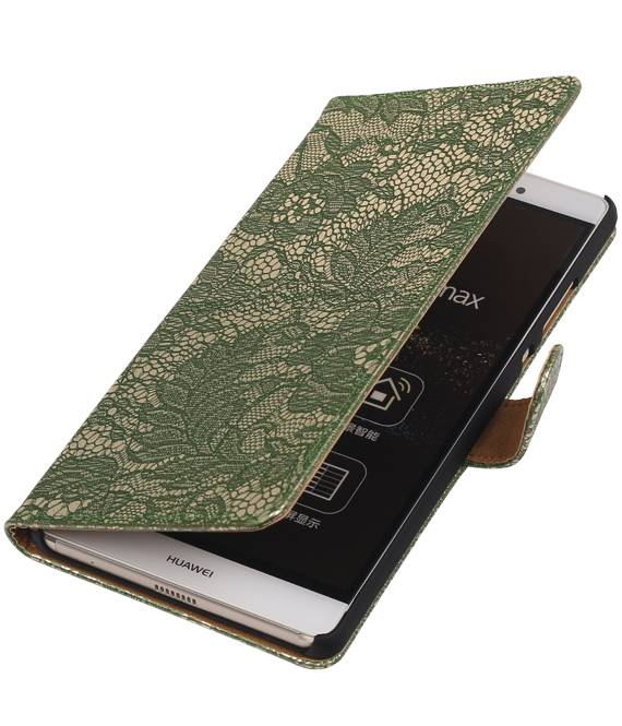 sony Xperia E4g Donkder Groen | Lace bookstyle / book case/ wallet case Hoes  | WN™ - hoesjeshoek