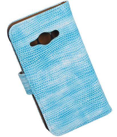 Samsung galaxy j1 2015 Ace Turquoise | Lizard bookstyle / book case/ wallet case Hoes  | WN™ - hoesjeshoek